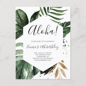 Aloha Greenery Tropical Birthday Party Invitation Post