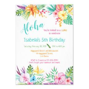 Aloha Hawaiian Luau Birthday Invitation
