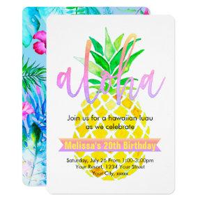 aloha luau birthday party watercolor pineapple invitation