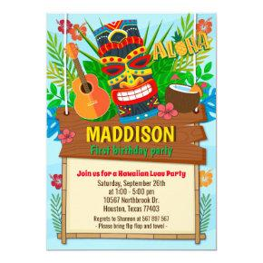 Aloha Luau Hawaiian Tropical Summer Birthday Invitation