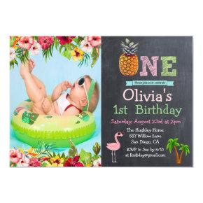 Aloha Luau Tropical 1st First Birthday Invitation