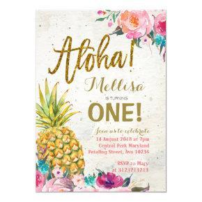 Aloha Pineapple First Birthday Invitation