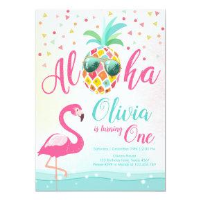 Aloha Pineapple Flamingo Birthday Invitation Pink