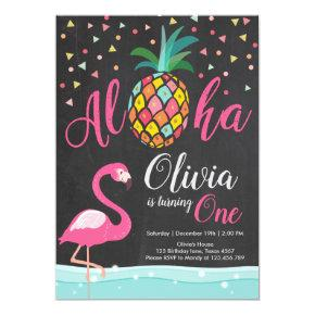 Aloha Pineapple Flamingo Birthday Invitation Pink