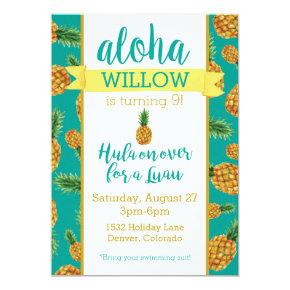 Aloha Pineapple Luau Birthday Invitations