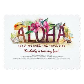 Aloha Tropical Beach Pineapple Birthday Invitation