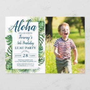 Aloha Tropical Greenery Luau Birthday Photo Invitation
