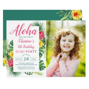 Aloha Tropical Greenery Luau Birthday Photo Invitation