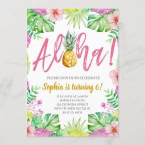 Aloha! Tropical Pineapple Girl Birthday Party Invitation