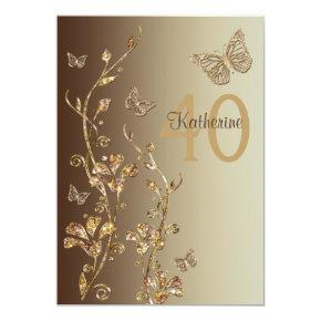 Amber, Brown Flowers & Butterflies 40th Birthday Invitations