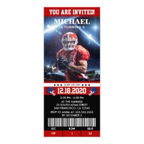 American Football Birthday Party Ticket Invitation