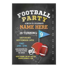 American Football Party Blue Birthday Invitations