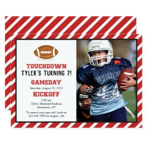 American Football Photo Birthday Invitation
