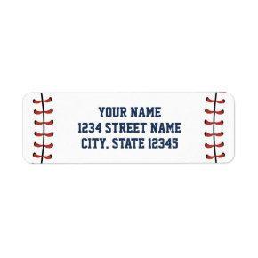 Americana Navy & Red Baseball Birthday/Baby Shower Label