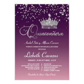Amethyst Purple Ombre Quinceanera Glam Spanish Invitation