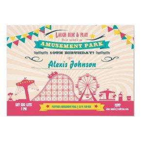 Amusement Park Funfair Carnival Birthday Invite