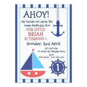 Anchor And Sail Boat Nautical Birthday Invitation