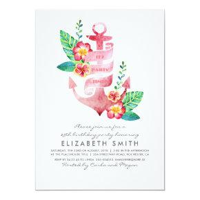 Anchor Beach Nautical Tropical Birthday Party Invitation