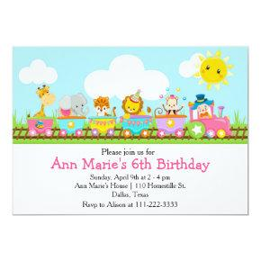 Animal Circus Train Kids Birthday in Pink Invitation