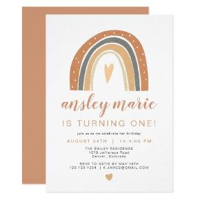 ANSLEY | Boho Burnt Orange Rust Rainbow Birthday Invitation