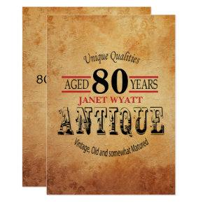 Antique 80th Birthday Invitations