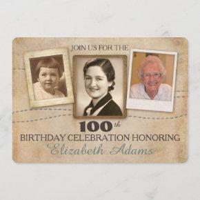 Antique Memories | Three Photo Birthday Invitation