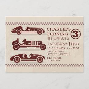 Antique Racing Cars Invitation