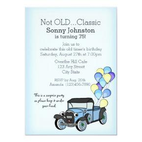 Antique Truck with Balloons Birthday Invitations