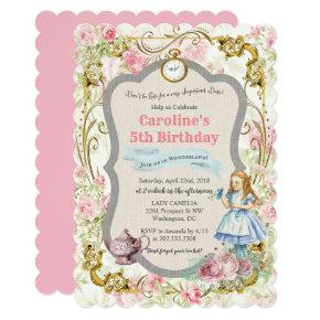 ANY AGE - Alice in Wonderland Birthday Invitations