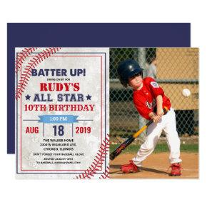 ANY AGE - Baseball Birthday Photo Invitation