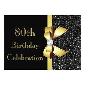 Any Age Birthday Black Faux Sequins Gold Bow Invitation