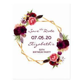 Any age birthday burgundy white Save the Date Post
