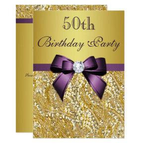 Any Age Birthday Gold Faux Sequins Purple Bow Invitation