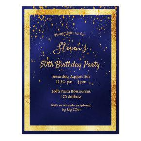 Any age birthday party blue gold invitation post
