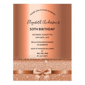 Any age birthday party copper glam invitation post