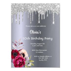 Any age birthday party Silver glitter drip Magnetic Invitation