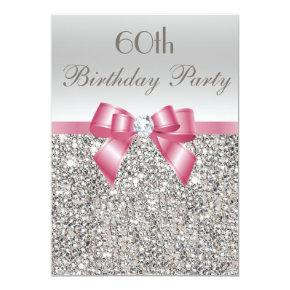 Any Age Birthday Party Silver Sequins Pink Bow Invitation