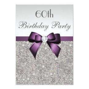 Any Age Birthday Party Silver Sequins Violet Bow Invitation
