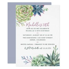 Any age Birthday Party Watercolor Succulent invite
