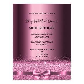 Any age birthday purple burgundy glam invitation post