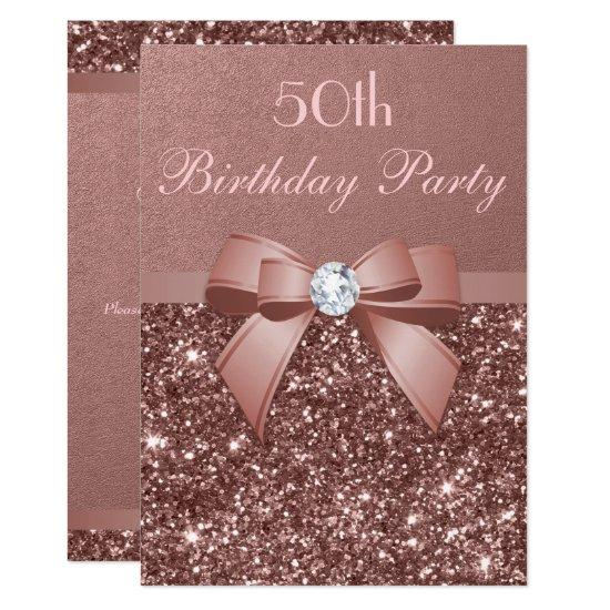 Any Age Birthday Rose Gold Glitter Diamond Bow