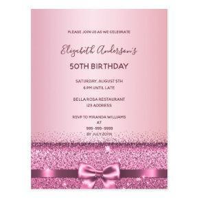 Any age birthday rose gold glitter glam invitation post