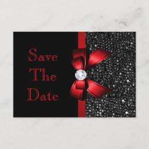 Any Age Birthday Save The Date Black and Red