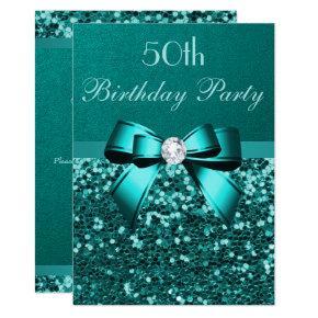 Any Age Birthday Teal Glitter Diamond Bow Invitation