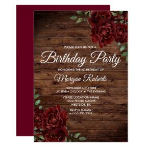 Any Age Burgundy Red Rose Rustic Birthday Party Invitation