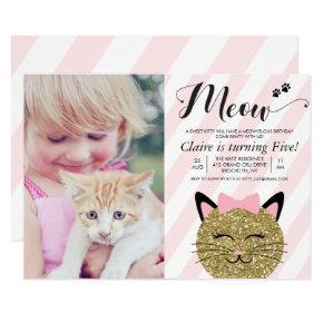 ANY AGE - Cat Kitten Photo Birthday Invitation