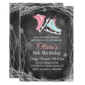 ANY AGE - Chalk Ice Skating Birthday Invitation