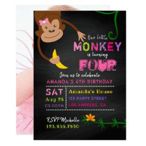 Any Age Chalkboard Little Monkey Girl Birthday Invitation