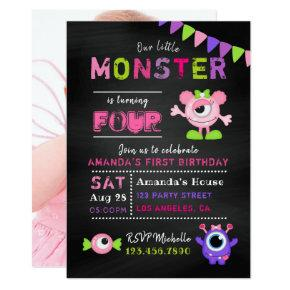 Any Age Chalkboard Little Monster Girl Birthday Invitations
