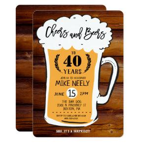 ANY AGE - Cheers and Beers Birthday Invitation